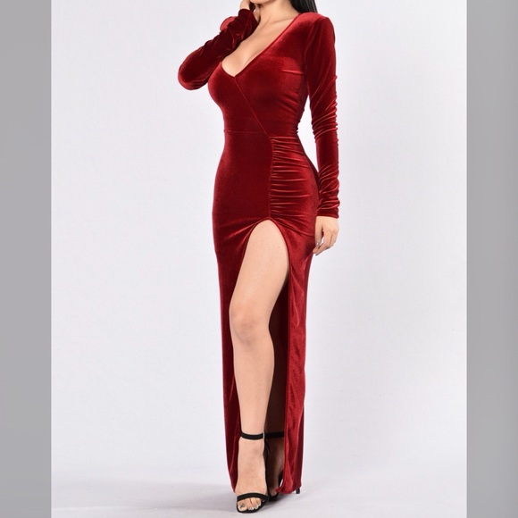 3df9a7b0741f07 Fashion Nova Dresses | Red Velvet Maxi Dress | Poshmark